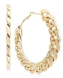 Thalia Sodi Gold-Tone Chain Link Hoop Earrings, Created for Macy's