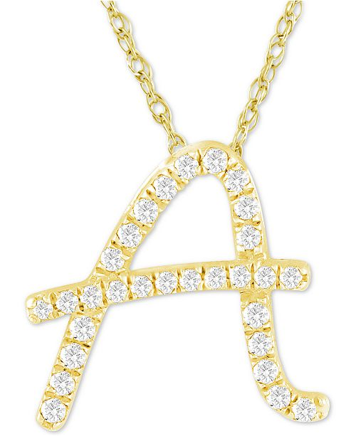 "Macy's Diamond Initial Pendant Necklace (1/10 ct. t.w.) in 14k Gold Over Sterling Silver, 16"" + 2"" Extender"