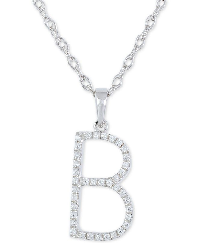 """Macy's Diamond (1/10 ct. t.w.) Initial Pendant Necklace in 10k White Gold, 16"""" + 2"""" extender"""