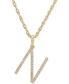 """Diamond (1/10 ct. t.w.) Initial Pendant Necklace in 10k Gold, 16"""" + 2"""" extender"""