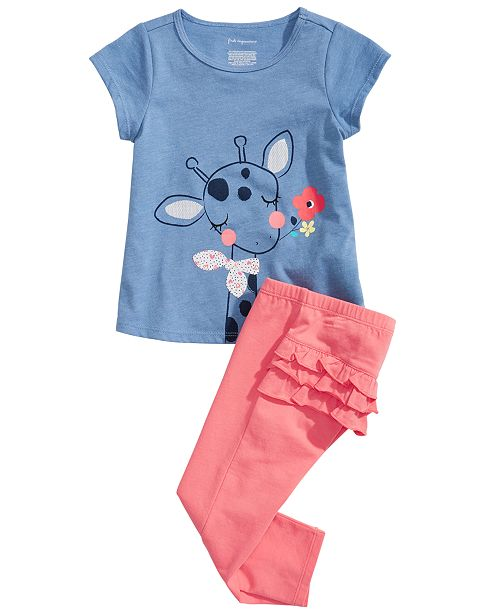 First Impressions Baby Girls Giraffe-Print T-Shirt & Ruffled-Back Leggings, Created for Macy's