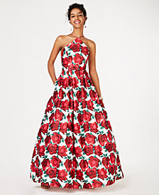 Blondie Nites Juniors' Y-Neck Small-Scale Rose Gown