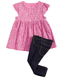 First Impressions Baby Girls Flamingo-Print Tunic & Denim Jeggings, Created for Macy's