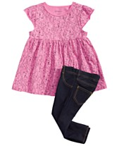4ac9094064 First Impressions Baby Girls Flamingo-Print Tunic   Denim Jeggings