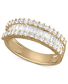 Diamond Baguette Cluster Band (1 ct. t.w.) in 14k White, Yellow or Rose Gold