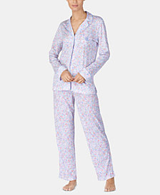 Lauren Ralph Lauren Notch Collar Knit Pajama Set