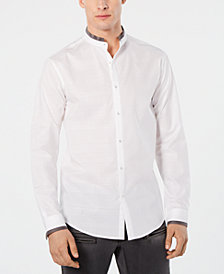 I.N.C. Men's Regular-Fit Plaid Band-Collar Shirt, Created for Macy's