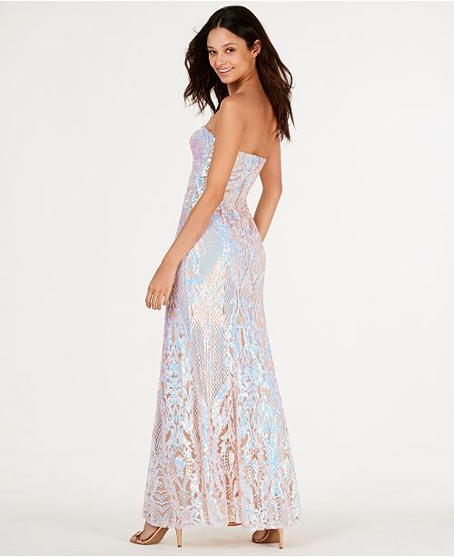 19e2fc6101 ... Say Yes to the Prom Juniors  Iridescent Sequin Mermaid Gown