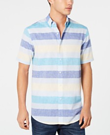 Club Room Men's Wide Striped Linen Blend Shirt, Created for Macy's