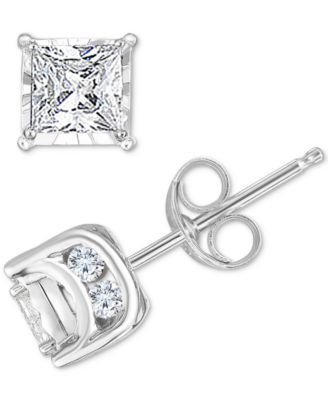Diamond Princess Stud Earrings (3/4 ct. t.w.) in 14k White Gold, Gold or Rose Gold