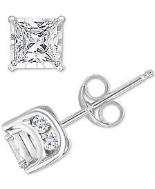 TruMiracle™ Diamond Princess Stud Earrings (3/4 ct. t.w.) in 14k White Gold