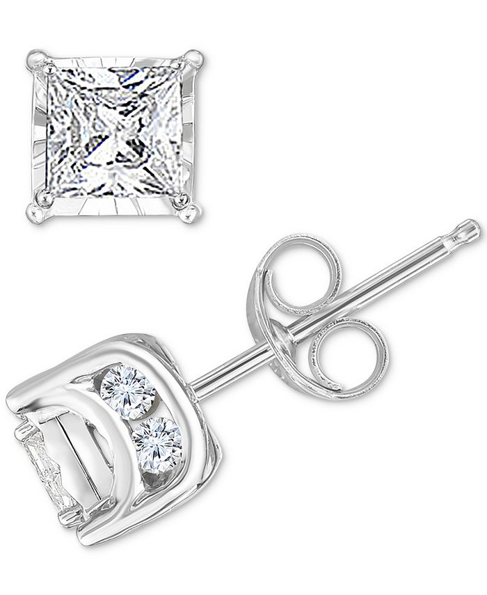 TruMiracle - Diamond Princess Stud Earrings (3/4 ct. t.w.) in 14k White Gold, Yellow Gold or Rose Gold