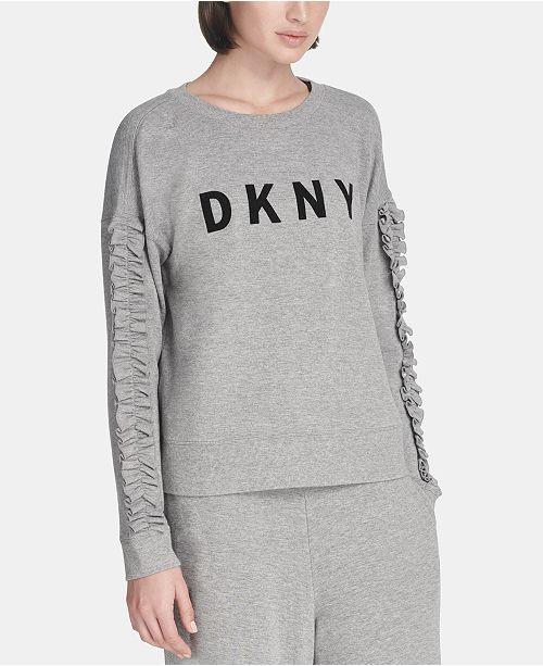 03d4c06bff323f DKNY Sport Ruffled-Sleeve Logo T-Shirt