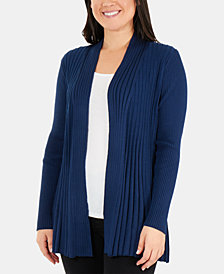 NY Collection Petite Pleated Open-Front Cardigan