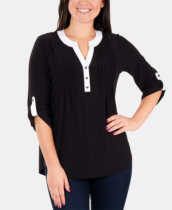 NY Collection Petite Colorblocked Pleated Top