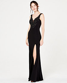 Say Yes to the Prom   Gown with Embroidery and Rhinestone Detail, Created for Macy's