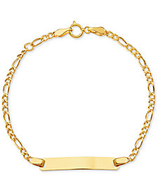 Children's ID Plate Figaro Link Bracelet in 14k Gold