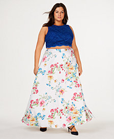 City Studios Trendy Plus Size 2-Pc. Lace Floral-Print Gown