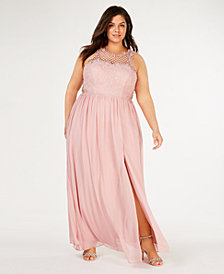 City Studios Trendy Plus Size Sleeveless Lace-Trim Gown