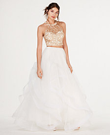 Say Yes to the Prom  Juniors' 2-Pc. Embroidered Tulle Gown, Created for Macy's