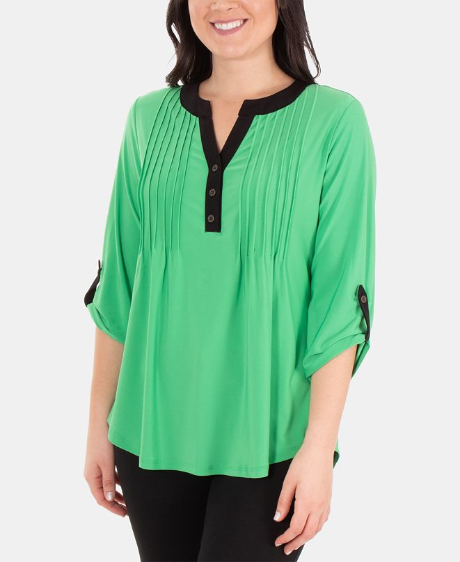 NY Collection Pintucked Contrast-Trim Top