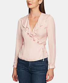 1.STATE Ruffle-Neck Jacquard Top