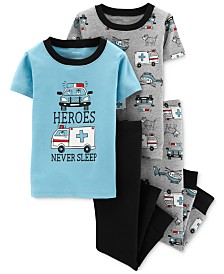 Carter's Baby Boys 4-Pc. Heroes Never Sleep Cotton Pajamas Set