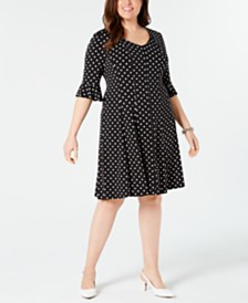 Connected Plus Size Polka-Dot Fit & Flare Dress