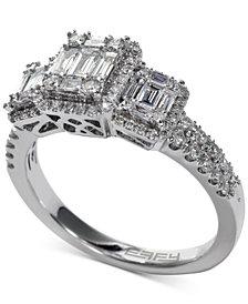 EFFY® Bridal Diamond Baguette Cluster Engagement Ring (3/4 ct. t.w.) in 14k White Gold