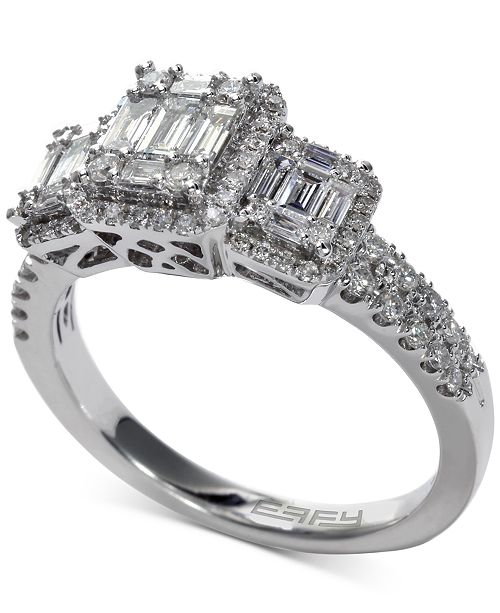 EFFY Collection EFFY® Bridal Diamond Baguette Cluster Engagement Ring (3/4 ct. t.w.) in 14k White Gold