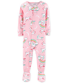Carter's Baby Girls Unicorn-Print Cotton Footed Pajamas
