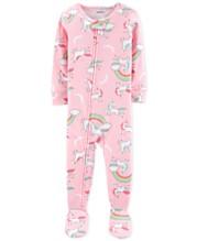 6115fe925 Carter's Baby Girls Unicorn-Print Cotton Footed Pajamas
