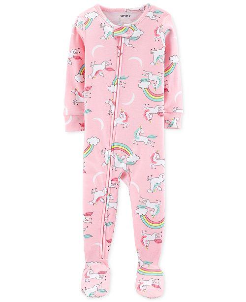 14ba1c859a33 Carter's Baby Girls Unicorn-Print Cotton Footed Pajamas & Reviews ...