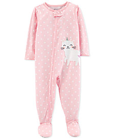 Carter's Baby Girls Unicorn Cat Cotton Footed Pajamas