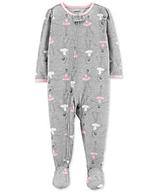 Carter's Baby Girls Ballerina-Print Footed Pajamas