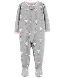 Carter's Baby Girls Ballerina-Print Footed Pajamas