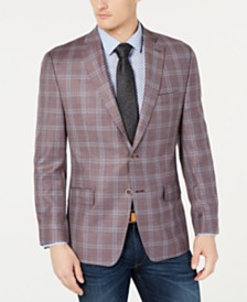 Michael Kors Men's Classic-Fit Red Plaid Sport Coat