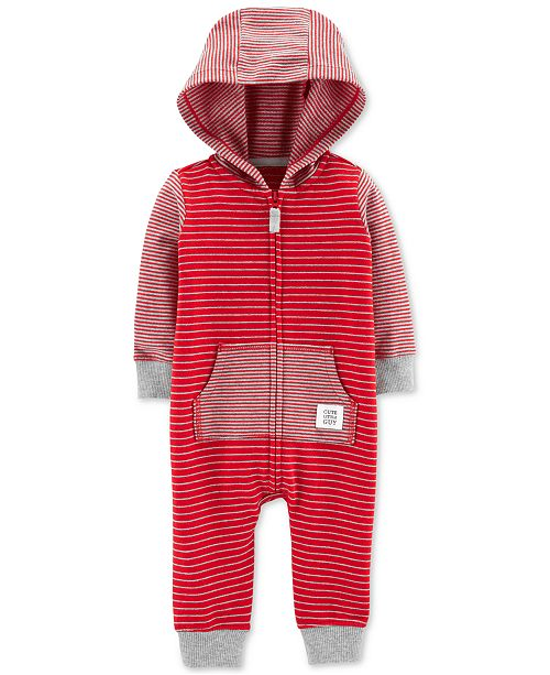 Carter's Baby Boys Striped Hooded Cotton Coverall