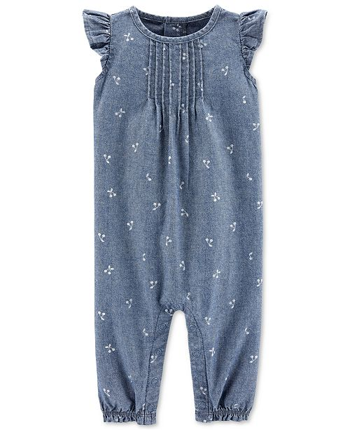 Carter's Baby Girls Printed Chambray Cotton Coverall