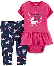 Carter's Baby Girls 2-Pc. Cotton Peplum Bodysuit & Unicorn-Print Leggings Set