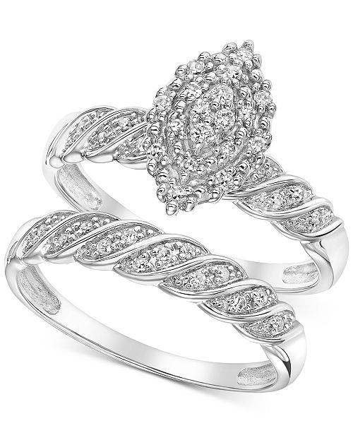 Macy's Diamond Marquise Cluster Twist Bridal Set (1/4 ct. t.w.) in 14k White Gold
