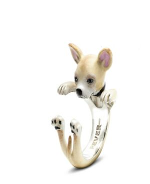 DOG FEVER Chihuahua Hug Ring In Sterling Silver And Enamel in Brown
