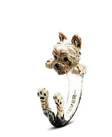 Yorkshire Terrier Hug Ring in Sterling Silver and Enamel