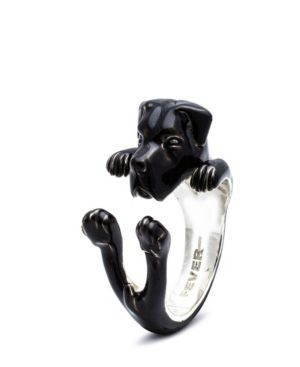 DOG FEVER Cane Corso Hug Ring In Sterling Silver And Enamel in Black