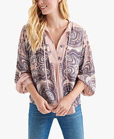 Lucky Brand Printed Tie-Neck Blouson Top