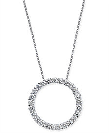 "Diamond Circle Pendant Necklace (2 ct. t.w.) in 14k White Gold, 16"" + 2"" extender"