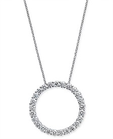 """Diamond Circle Pendant Necklace (2 ct. t.w.) in 14k White Gold, 16"""" + 2"""" extender"""