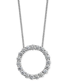 "Diamond Circle Pendant Necklace (1-1/2 ct. t.w.) in 14k White Gold, 16"" + 2"" extender"