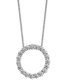 """Diamond Circle Pendant Necklace (1-1/2 ct. t.w.) in 14k White Gold, 16"""" + 2"""" extender"""
