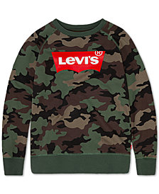 Levi's® Big Boys Camo-Print Fleece Pullover Sweatshirt